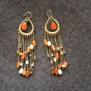 Jewelry - Gold and Orange Drop Earrings